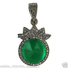 Emerald Studded Silver Pendants Jewelery Artdeco Estate 1.19cts Rose Cut Diamond