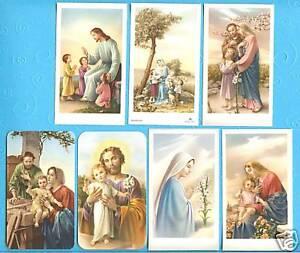 Lot of 7 Catholic Holy Cards Virgin Mary Jesus PRETTY from Italy