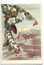 Buon Natale con Fiori Paesaggio Xmas Vintage PC Circa 1950