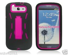 Samsung Galaxy S3 III Hybrid Armor Case Skin Cover w/ Kickstand Black Hot Pink