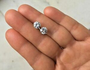 Mens Ladies 1.25 ct. Lab Diamond 18K W Gold Filled Screw Back Stud Earrings 7mm