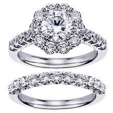 2.40 Ct Halo Brilliant Cut Diamond Engagement Bridal Set in 14k White Gold New