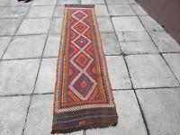 Kilim Vintage Traditional Hand Made Oriental Red Long Kilim Runner 275x70cm