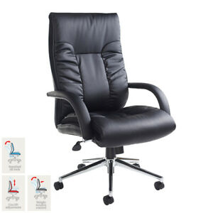 Modern Design Deep Cushioned Leather Faced Executive Padded Chair in Black