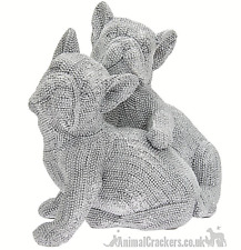 More details for two french bulldogs silver diamante ornament figurine frenchie dog lover gift