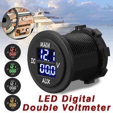 12-24V AUX + Main LED Digital Dual Voltmeter Voltage Gauge Battery Monitor Panel