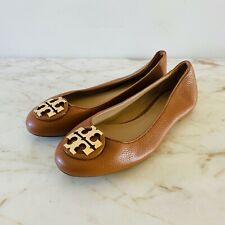TORY BURCH Brown Leather Ballerina Flats Gold Logo - US 7