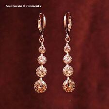 Boucles d'oreille pendantes dorées à or rose 4 rangées Swarovski® Elements CAMEL