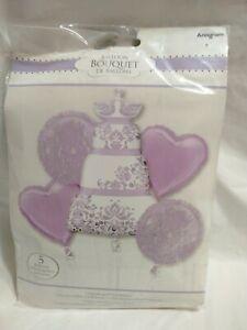 Anagram Purple Wedding Cake Foil Balloon Bouquet 5 Balloons