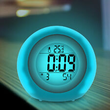 Alarm Clock Desk Table Transparent Clock with Speaker Colorful Light LCD Display