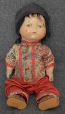 ADORABLE AND POUTY ANTIQUE ASIAN LITTLE BOY COMPOSITION ON METAL CHARACTER DOLL