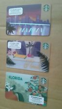 3 STARBUCKS GIFT CARDS 2 FLORIDA, Orange & Pool 2016 & 2018 + MIAMI SKYLINE 2015