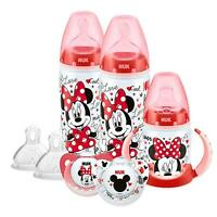NUK Disney Baby Bottle, Soother & Sippy Cup Set, 6-18 Months, Minnie Mouse With