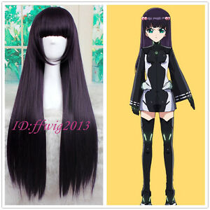 Twin Star Exorcists Adashino Benio 85cm long dark purple Cosplay wigs +a wig cap