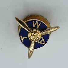wunderschöner alter emaillierter Pin Gold 10k punziert Propeller WAT 10