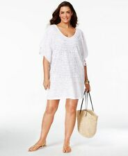 Dotti Swimsuit Coverup 3x Plus Size White Patterned Mesh V Neck Stretch New