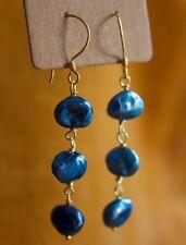 Shimmery Blue KESHI PEARL 3-Tier GOLD VERMEIL Dangle EARRINGS
