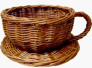 Wicker Tea Cup & Saucer Basket  20cm - Gift/Hamper Making (only Basket)