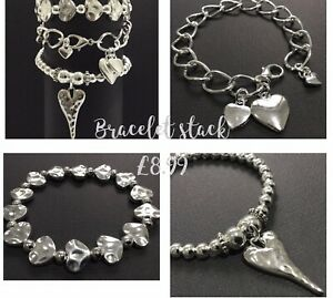 Silver hearts Stacking Bracelets Trio Beaded And Chain boho Bijoux
