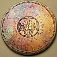 1964 CANADA 1 ONE SILVER DOLLAR COLOR GEM STRIKING PURPLE TONED UNC BU (DR)