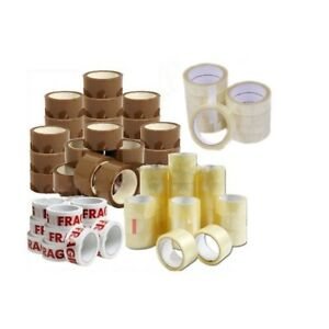 PACKAGING PARCEL SEAL TAPE BROWN CLEAR FRAGILE 48mmx66M Rolls 25mmx66M BOX UK