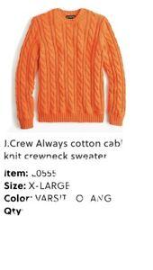 J.Crew Always cotton cable-knit crewneck sweater * XL* Orange MSRP $110