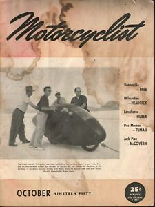 1950 October Motorcyclist - Vintage Motorcycle Magazine - Rollie Free