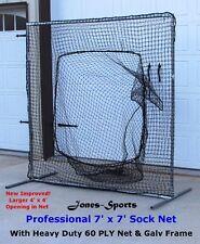 7' x 7' Professional Sock Net Baseball Safety FRAME w Heavy Duty 60PLY Net incl.