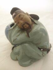 VTG ASIAN JAPANESE / CHINESE MAN FIGURE INCENSE BURNER STONEWARE POTTERY
