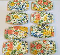Set Of 8 Vintage Fiberglass Trays Plates Stacking BOLD FLOWERS VG
