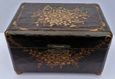 Vintage French Chinese Chinoiserie Style Black Lacquered Floral Jewelry Box