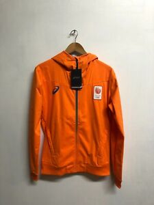 Asics Men's Olympic Hoodie Netherlands Full Zip Hooded Long Sleeve - Orange -New