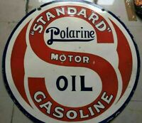 """Porcelain Standard Polarine Motor Oil Sign SIZE 42"""" Round Double sided"""