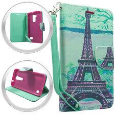 PU Wallet Pouch Paris Tower Case w/Strap For LG K7 / Tribute 5