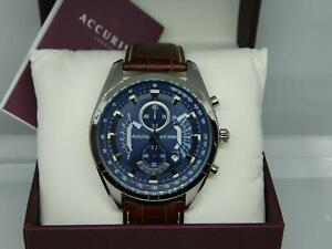 ACCURIST Steel Men's 100 meter Blue Dial Chronograph Brown Leather Strap Watch