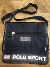 Vtg 90s Polo Sport Crossbody Messenger Bag Navy Blue Logo Ralph Lauren Spellout