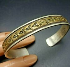 Signed Vintage NAVAJO Hand-Stamped Sterling Silver and Gold Filled Cuff BRACELET