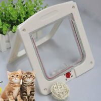 4 Way Locking Pet Cat Kitty Small Dog Doggy Puppy Flap Safe Door Tunnel BI
