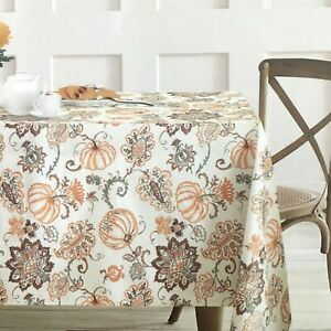Envogue Pumpkin Paisley Tablecloth Orange Brown Fall Thanksgiving Cotton 60x120