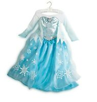 Disney Store Authentic FROZEN Queen Elsa Costume Dress Size 3 4 5/6 7/8 9/10 NWT