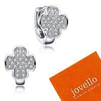 Silber Kreuz Creolen Ohrring aus echt 925 Sterlingsilber mit Zirkonia + Beutel