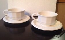 Pair of Pfaltzgraff White Heritage Cup and Saucer 4 pcs Wide-mouth Soup mugs