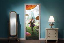 Door Mural Alice in Wonderland Mad Hatters tea Party View Wall Sticker Decal 301