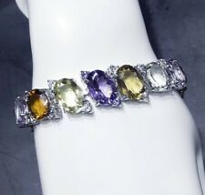DELIGHT NATURAL AMETHYST CITRINE PERIDOT TOP QUALITY - 925 SILVER BRACELET