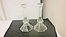 "Lot 2  Clear Octagon Wide Base 8"" Tall  Candle Holders"