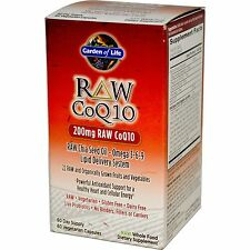 Garden of Life Raw CoQ10 200 mg 60 Vegetarian Capsules Free Shipping