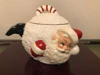 Vintage Ceramic Christmas Santa Claus inside a Snowball Candy Nut Jar Canister