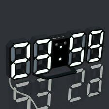 Modern Digital 3D LED Wall Clock Alarm Clock Snooze 12/24 Hour Display USB