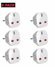 6 x UK to EU Europe Power Adaptor Plug Converter Travel Adapter European white