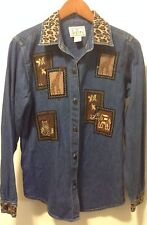 Tantrums Denim Shirt Top Blouse Embroidery Animal Zoo Jungle Print Size S